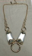 NEW Alexis Bittar SILVER Lucite Circle Link Mother-of-Pearl Bib Necklace $295
