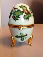 EXQUISITE EGG Hand Painted FRENCH LIMOGES TRINKET BOX Christmas Holly Design