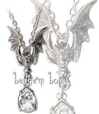 Goth : Alchemy Collier Chaine & Pendentif Chauve Souris Blanc La Nuit Gothique