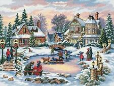 A Treasured Time (Victorian Snow Scene-Skaters) Cross Stitch Kit - Dimensions