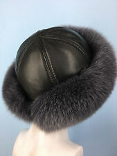 Fin Fox Fur Roller Hat. With Italian Leather. Saga Furs. Regular Women's Size.