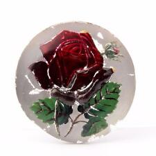 (1) 30mm Antique Czech intaglio painted rose flower mirrored art glass cabochon