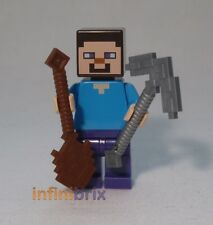 Lego Steve with Shovel + Pic-Axe from Sets 21113, 21114, 21115 Minecraft min009