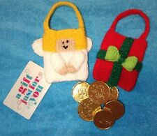 KNITTING PATTERN - Angel and Present gift bags Christmas tree decorations