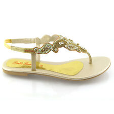 NEW WOMENS FLAT DIAMANTE TOE POST LADIES SPARKLY DRESSY PARTY SANDALS SIZE 3 - 8