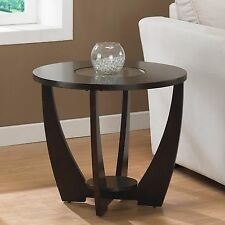 Dark Brown Round End Table with Glass Top Living Room Wooden Side/Coffee Table