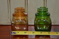 2 Small Wheaton? Glass Green Amber Stopper Seed/Spice/Apothecary Jars Bottles