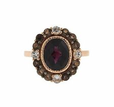 LeVian 14k Rose Gold Rhodolite Sapphire Smokey Quartz Ring Sz 7.25 Retail $1360
