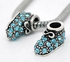SPARKLY  BLUE BABY/SHOE BOOTIE BEAD EUROPEAN CHARM