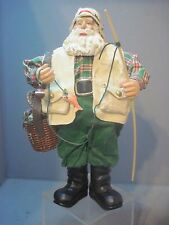 CANE POLE FISHING SANTA WITH VEST AND CREEL BASKET FIGURE