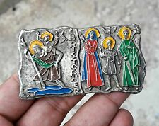 VINTAGE RARE SILVER ST. CHRISTOPHER HOLY FAMILY ENAMEL PAINTED MEDAL/BADGE,ITALY