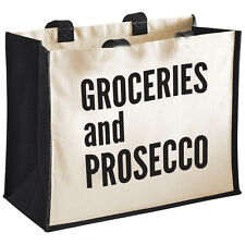 Groceries and Prosecco Cotton Canvas/Jute Shopper Bag Shopping Gift/Xmas/Novelty
