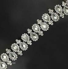 1yds Charming Resin Crystal Glass Rhinestone Trim Bridal Applique Silver Chain