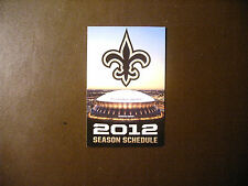 New Orleans Saints 2012 NFL pocket schedule - Mercedes Benz Superdome