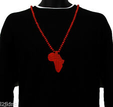 Men Red Africa Cont. Pendant Wood Hip Hop Ball Beaded 36 Inch Chain Necklace