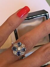 Magnificent Sapphire And Diamond Daisy Cluster Ring 18ct White Gold