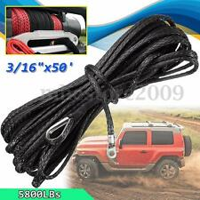 "3/16"" x 50' Synthetic Winch Rope 5800LBs ATV UTV SUV Ramsey Cable Line W/ Sheath"