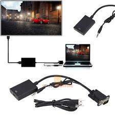 VGA Male to HDMI Output 1080P+USB Audio AV HDTV Video Cable Converter Adapter