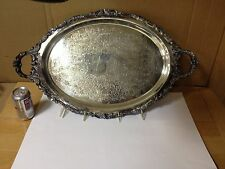 "Wallace Silver Baroque 29"" Large Serv Platter, Vintage Silver Plate Serving Tray"