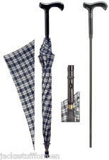 HARVY Derby Handle Handcrafted Plaid Unisex Umbrella with Hidden Cane Inside