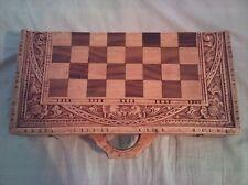 Magnifique jeu d'échecs asiatique en bois sculpté + Backgammon - Très bon état