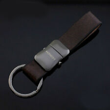 Mens Detachable Genuine Leather Keychain Key Chain Ring Keyfob Best Gift Buckle