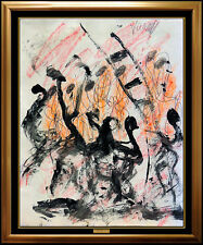 Purvis Young Authentic Original Abstract Painting Signed Modern Street Artwork