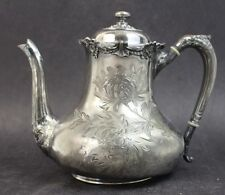 Vintage Signed Reed Barton Silver Plate Ornate Etched Floral Lidded Tea Pot