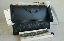 AUTHENTIC TORY BURCH FLEMING CONVERTIBLE SHOULDER BAG IN BLACK LARGE  NWT