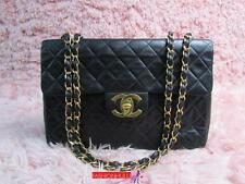Fair Condition / CHANEL VINTAGE 2.55 MAXI Lambskin Single Flap Bag Gold HW