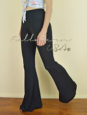 BLACK Solid Stretch Knit Casual Lounge Yoga Pajama FLARE Bell Bottoms Pants L
