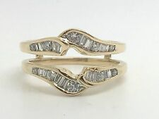 14K YELLOW GOLD .50TCW DIAMOND RING GUARD ENHANCER WRAP SIZE 7 SI2 H