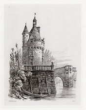 """Detailed 1800s Original ERNEST GEORGE Etching """"The Warder's Tower"""" SIGNED COA"""