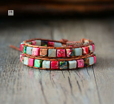 Crystal Bead Friendship Bracelet Wrap Surf Beach Surfer Chakra Leather Agate Red