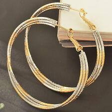 54mm Big Large Yellow White Gold Filled 2-Tone Womens Silver Hoop Earrings