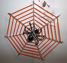 "Christopher Radko Halloween Ornament WEB SIGHT SPIDER WEB 8"" CZECH GLASS BEADS"