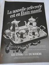 PUBLICITE 1982  Les Etains du Manoir orfèvrerie