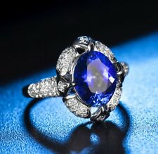 Antique Cut Tanzanite and Diamonds Ring in 18k White Gold