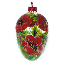 """""""Poppies"""" Hand Blown Glass Easter Egg Ornament."""