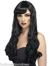 Halloween Sexy Vampiress Goth Witch Long Wavy Black Wig With Fringe Fancy Dress