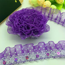 NEW DIY 3 yards 2-Layer Purple organza Lace Gathered  Pleated sequined Trim Y55