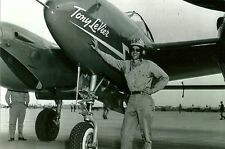 "TONY LEVIER WITH RACING AIRPLANE 5"" X 7"" BLACK & WHITE PHOTOGRAPH"