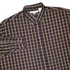 New IRVINE PARK Men Black Plaid Button Down Cotton Shirt 3XL Reg 19