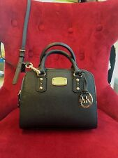 NWT MICHAEL MICHAEL KORS SAFFIANO LEATHER MINI SATCHEL BAG IN BLACK RTL $248