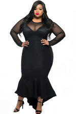 Plus Size Clothing 3X Illusion Neckline Long Mermaid Dress SEXY Women's Sz 14 16