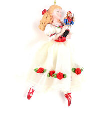 "Nutcracker Ballet Clara  6"" White Dress Red Trim Resin Christmas Ornament NEW T4"