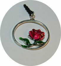 CELL PHONE SMART PHONE DUST PLUG CHARM LARGE CIRCLE RED ROSE
