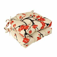 Pillow Perfect 484105 Beige / Red Flowering Branch Reversible Chair Pad (Set of