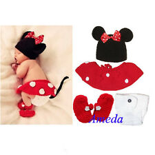Newborn Girl Baby Hat+Skirt+Diaper Cover+Shoes Minnie Mouse Crochet Costume 4pcs