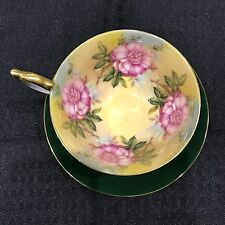 AYNSLEY Green And Gold Floral Flower Hand Painted TEA CUP AND SAUCER